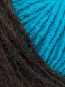Please note that the yarn is a self-striping yarn. See package photos for the color appaerance Fiber Content 60% Acrylic, 40% Wool, Turquoise, Brand ICE, Brown, fnt2-39701