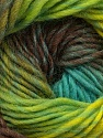 Fiber Content 100% Wool, Turquoise, Neon Green, Brand Ice Yarns, Brown Shades, Yarn Thickness 4 Medium  Worsted, Afghan, Aran, fnt2-43062