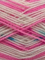 Fiber Content 90% Acrylic, 10% Polyamide, White, Turquoise, Pink, Brand Ice Yarns, fnt2-45633