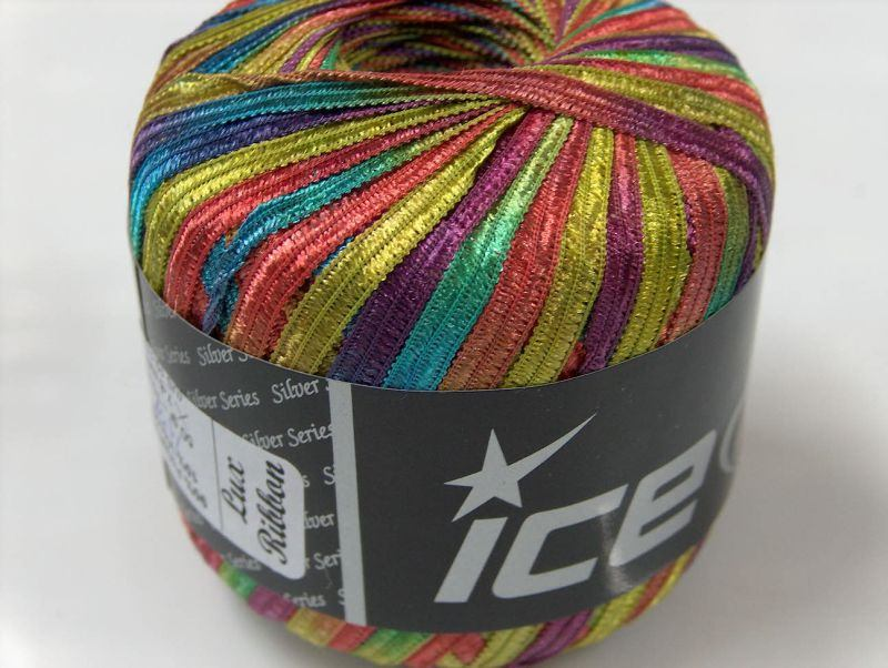 Lux Ribbon Rainbow, Colors, Ribbon - Ladder Yarns Ice Yarns Online Yarn Store
