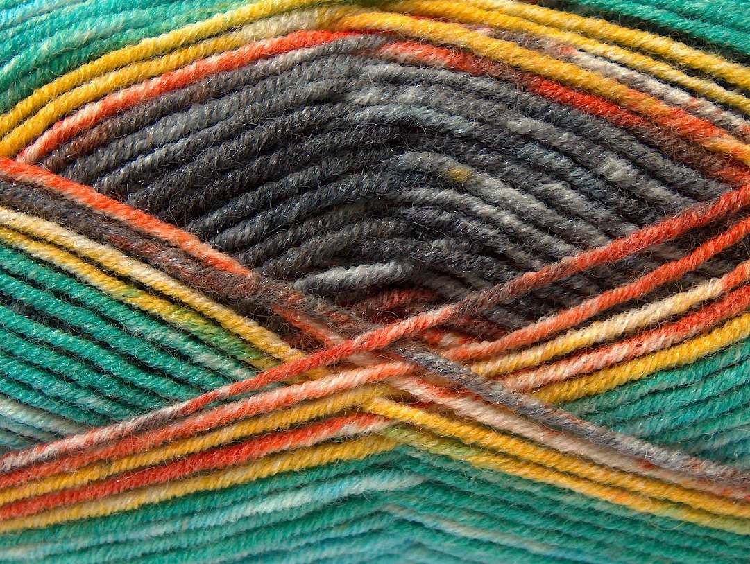 Bamboo Yarn : Bamboo Wool Magic Yellow Turquoise Orange Green Brown at Yarn Paradise