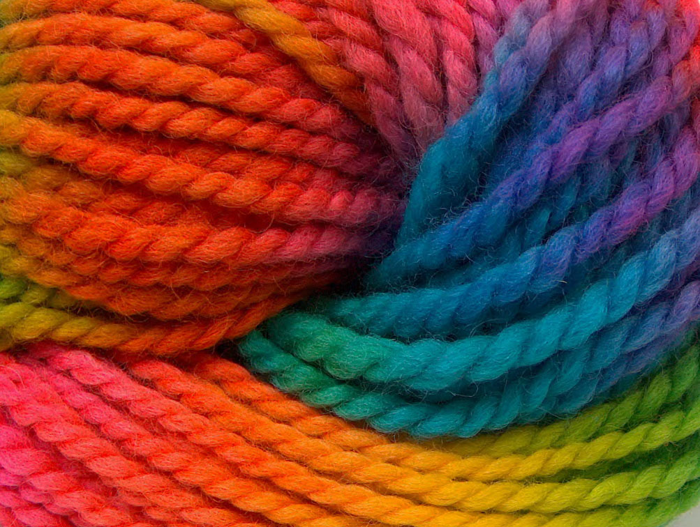 Hand Dyed Wool Bulky Rainbow Hand Dyed Handpainted