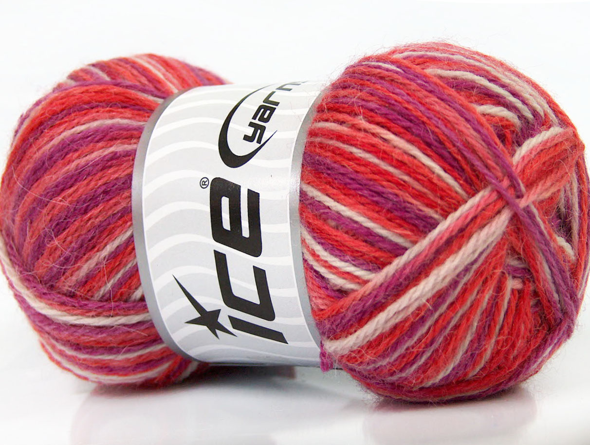 Sale Sock Yarn White Salmon Purple at Ice Yarns Online Yarn Store