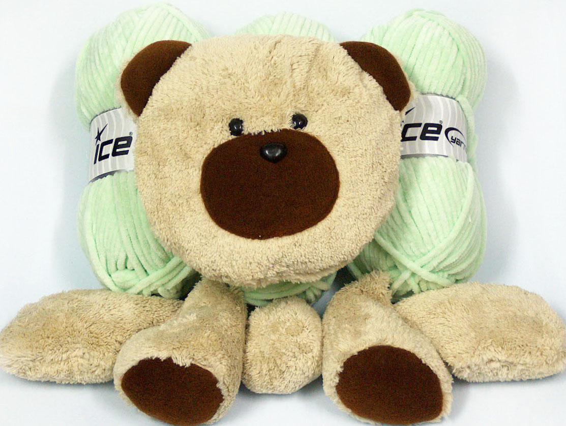 Animal Pillow Baby Green with Teddy at Yarn Paradise