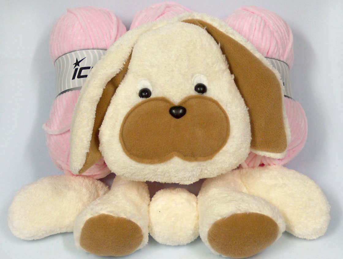 Animal Pillow Baby Pink with Bunny at Yarn Paradise