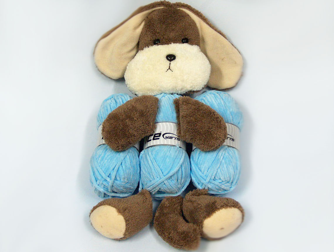 Animal Pillow Baby Blue with Puppy at Yarn Paradise