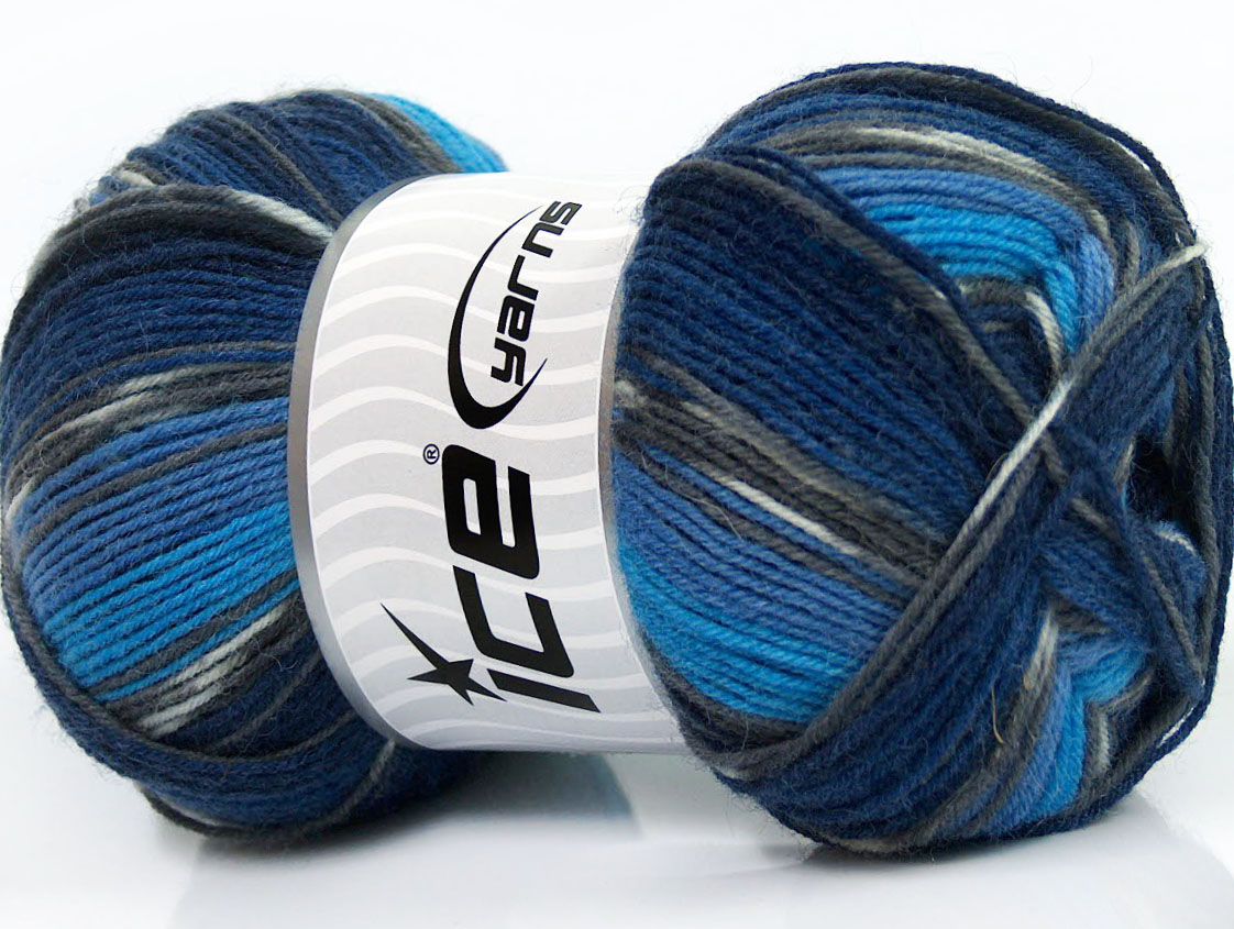 Super Sock Turquoise Grey Blue Shades at Ice Yarns Online Yarn Store