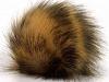 Lys brun Svart 2 Faux Fur PomPoms