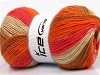Angora Print Salmon Orange Light Brown Cream