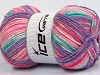 Wool Sport Print Turquoise Pink Shades Lilac
