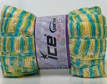 A new scarf yarn. It looks like a regular tape, but when knitted it gives you a frilly pattern. Excellent for scarfs and trims. Fiber Content 80% Acrylic, 5% Polyester, 15% Lurex, Yellow, Turquoise, Silver, Brand Ice Yarns, Green, Yarn Thickness 6 SuperBulky  Bulky, Roving, fnt2-22907