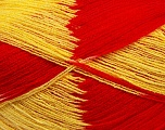 Very thin yarn. It is spinned as two threads. So you will knit as two threads. Yardage information if for two strands. Fiber Content 100% Acrylic, Yellow, Red, Brand Ice Yarns, Yarn Thickness 1 SuperFine  Sock, Fingering, Baby, fnt2-39624