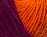 Please note that the yarn is a self-striping yarn. See package photos for the color appaerance Fiber indhold 60% Akryl, 40% Uld, Purple, Orange, Brand Ice Yarns, Yarn Thickness 4 Medium  Worsted, Afghan, Aran, fnt2-39690