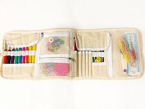 Comes in a case. The set contains: <ul><li>9 soft grip crochet hooks (2 mm (B/1), 2.5 mm(C/2), 3 mm (D/3), 3.5 mm (E/4), 4 mm (G/6), 4.5 mm (7), 5 mm (H/8), 5.5 mm (US I/9), 6 mm (US J/10))</li><li>12 color aluminum crochet hooks (2 mm (B/1), 2.5 mm(C/2), 3 mm (D/3), 3.5 mm (E/4), 4 mm (G/6), 4.5 mm (7), 5 mm (H/8), 5.5 mm (US I/9), 6 mm (US J/10), 6.5 mm (US K/10 1/2), 7 mm (US L 11), 8 mm (US L 11))</li><li>20 lock ring markers, tape measure, 2 row counters, 4 point protectors,knitting gauge, 2 sitch holders, scissors, 6 plastic needles, 3 plastic cable stitch needles, etc </li></ul> Brand ICE, acs-1262