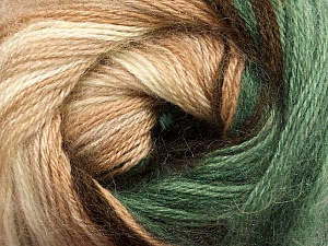 Fiber Content 60% Premium Acrylic, 20% Mohair, 20% Wool, Brand ICE, Green, Cream, Brown Shades, Yarn Thickness 2 Fine  Sport, Baby, fnt2-50296