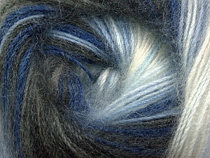 Fiber Content 60% Premium Acrylic, 20% Mohair, 20% Wool, White, Brand ICE, Grey Shades, Blue Shades, Yarn Thickness 2 Fine  Sport, Baby, fnt2-50299