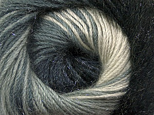 Fiber Content 57% Premium Acrylic, 3% Metallic Lurex, 20% Wool, 20% Mohair, White, Brand ICE, Grey Shades, Black, Yarn Thickness 2 Fine  Sport, Baby, fnt2-50314