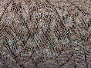 Fiber Content 70% Recycled Cotton, 30% Metallic Lurex, Brand Ice Yarns, Camel, Yarn Thickness 6 SuperBulky  Bulky, Roving, fnt2-50522