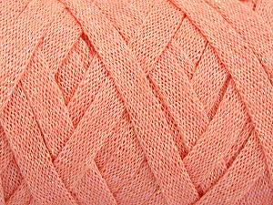 Fiber Content 70% Recycled Cotton, 30% Metallic Lurex, Light Salmon, Brand Ice Yarns, Yarn Thickness 6 SuperBulky  Bulky, Roving, fnt2-50524