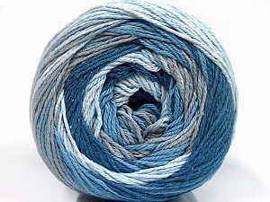 Fiber Content 100% Cotton, Brand ICE, Grey, Blue Shades, Yarn Thickness 3 Light  DK, Light, Worsted, fnt2-50556
