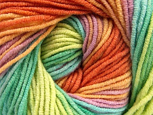 Fiber Content 55% Cotton, 45% Acrylic, Yellow, Orange, Lilac, Brand ICE, Green Shades, Yarn Thickness 3 Light  DK, Light, Worsted, fnt2-51451