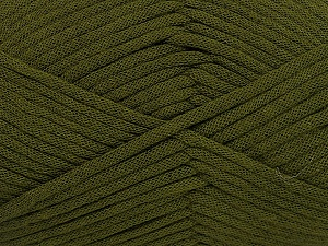 This is a tube-like yarn with soft fleece inside. Fiber Content 73% Viscose, 27% Polyester, Brand ICE, Dark Green, Yarn Thickness 5 Bulky  Chunky, Craft, Rug, fnt2-52044