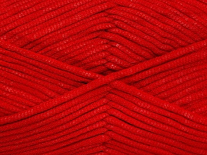 This is a tube-like yarn with soft fleece inside. Fiber Content 73% Viscose, 27% Polyester, Red, Brand ICE, Yarn Thickness 5 Bulky  Chunky, Craft, Rug, fnt2-52049