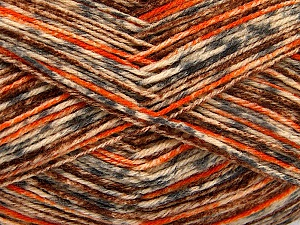 Fiber Content 75% Superwash Wool, 25% Polyamide, Orange, Brand Ice Yarns, Grey, Cream, Brown, Yarn Thickness 1 SuperFine Sock, Fingering, Baby, fnt2-52155
