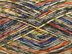 Fiber Content 75% Superwash Wool, 25% Polyamide, Orange, Brand Ice Yarns, Grey, Green, Cream, Blue, Yarn Thickness 1 SuperFine Sock, Fingering, Baby, fnt2-52156