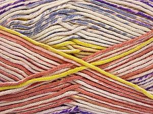 Fiber Content 50% Cotton, 50% Acrylic, Yellow, Salmon, Lilac, Brand ICE, Cream, Yarn Thickness 2 Fine  Sport, Baby, fnt2-52920