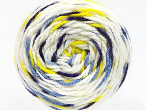 Fiber Content 80% Acrylic, 20% Polyamide, White, Purple, Neon Yellow, Lilac, Brand ICE, Yarn Thickness 4 Medium  Worsted, Afghan, Aran, fnt2-53199