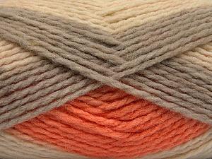 Fiber Content 70% Acrylic, 30% Wool, Orange, Brand Ice Yarns, Grey, Cream, Yarn Thickness 4 Medium Worsted, Afghan, Aran, fnt2-53554