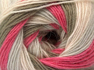 Fiber Content 60% Acrylic, 20% Angora, 20% Wool, Pink Shades, Light Grey, Khaki, Brand ICE, Yarn Thickness 2 Fine  Sport, Baby, fnt2-53559