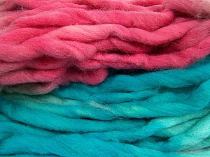 Fiber Content 100% Superwash Wool, Turquoise, Pink, Brand ICE, Grey, Yarn Thickness 6 SuperBulky  Bulky, Roving, fnt2-53576