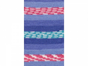 Fiber Content 100% Acrylic, White, Turquoise, Pink, Brand ICE, Blue Shades, Yarn Thickness 4 Medium  Worsted, Afghan, Aran, fnt2-53780