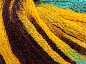 Fiber Content 50% Wool, 50% Acrylic, Yellow, Turquoise, Maroon, Brand ICE, Yarn Thickness 6 SuperBulky  Bulky, Roving, fnt2-54387