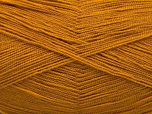 Very thin yarn. It is spinned as two threads. So you will knit as two threads. Yardage information is for only one strand. Fiber Content 100% Acrylic, Brand ICE, Dark Gold, Yarn Thickness 1 SuperFine  Sock, Fingering, Baby, fnt2-54694