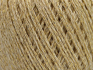 Fiber Content 40% Acrylic, 40% Wool, 20% Metallic Lurex, Brand ICE, Gold, Cream, Yarn Thickness 3 Light  DK, Light, Worsted, fnt2-55280