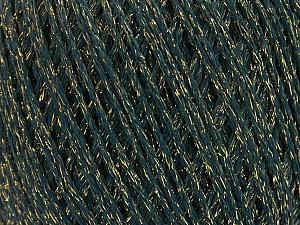 Fiber Content 50% Cotton, 30% Acrylic, 20% Metallic Lurex, Brand ICE, Gold, Dark Green, Yarn Thickness 3 Light  DK, Light, Worsted, fnt2-55294
