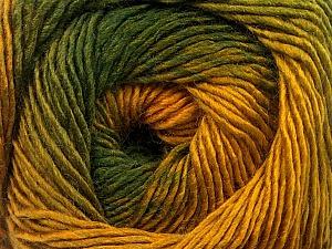 Fiber Content 50% Acrylic, 50% Wool, Brand Ice Yarns, Green Shades, Gold, Yarn Thickness 2 Fine Sport, Baby, fnt2-55459