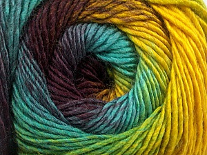 Fiber Content 50% Acrylic, 50% Wool, Yellow, Turquoise, Maroon, Brand ICE, Green, Yarn Thickness 2 Fine  Sport, Baby, fnt2-55462