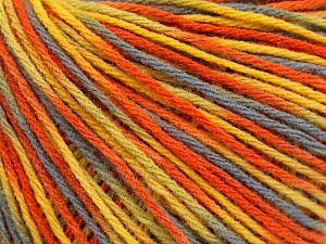 Fiber Content 50% Acrylic, 50% Wool, Yellow, Orange, Brand ICE, Grey, Yarn Thickness 3 Light  DK, Light, Worsted, fnt2-56205