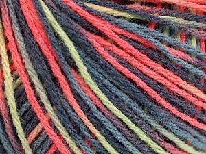 Fiber Content 50% Acrylic, 50% Wool, Salmon, Mint Green, Brand ICE, Grey Shades, Yarn Thickness 3 Light  DK, Light, Worsted, fnt2-56215