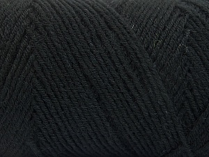 Fiber Content 50% Wool, 50% Acrylic, Brand ICE, Black, Yarn Thickness 3 Light  DK, Light, Worsted, fnt2-56422