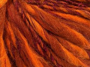 Fiber Content 45% Wool, 25% Acrylic, 20% Alpaca, 10% Metallic Lurex, Orange Shades, Maroon, Brand ICE, Yarn Thickness 5 Bulky  Chunky, Craft, Rug, fnt2-56983