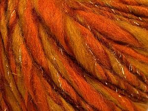 Fiber Content 45% Wool, 25% Acrylic, 20% Alpaca, 10% Metallic Lurex, Orange, Olive Green, Brand ICE, Gold, Yarn Thickness 5 Bulky  Chunky, Craft, Rug, fnt2-56984