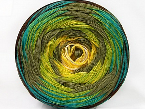 Fiber Content 50% Acrylic, 50% Cotton, Yellow, White, Turquoise, Khaki, Brand ICE, Green, Brown, Yarn Thickness 2 Fine  Sport, Baby, fnt2-57332