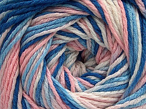 Fiber Content 100% Acrylic, White, Light Pink, Brand ICE, Blue Shades, Yarn Thickness 3 Light  DK, Light, Worsted, fnt2-57746
