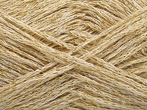 Fiber Content 40% Acrylic, 40% Wool, 20% Metallic Lurex, Brand ICE, Gold, Cream, fnt2-58010