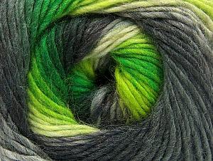 Fiber Content 70% Acrylic, 30% Wool, Neon Green, Brand ICE, Grey Shades, Yarn Thickness 3 Light  DK, Light, Worsted, fnt2-58143